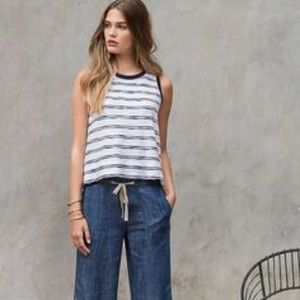 Lilla | P White & Blue Stripe Basic Tank